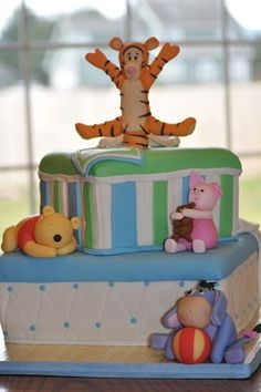 More winnie the pooh! this is my favorite one so far though because tigger is on top! Baby Shower Cakes, Baby Shower Parties, Baby Boy Shower, Baby Shower Themes, Shower Ideas, Winnie The Pooh Cake, Winnie The Pooh Friends, Cute Cakes, Party Cakes