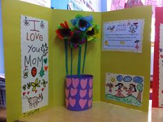 Mother's Day art that our class made last week. :) we used egg cartons for the flower and colored tissue paper.  #art #mothersday #craft