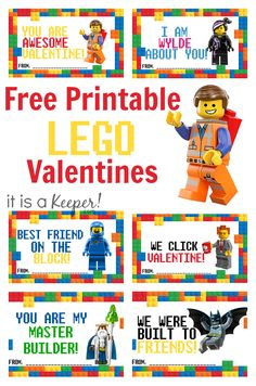 Are your kids obsessed with LEGO? Print out these adorable LEGO valentines free… Are your kids obsessed with LEGO? Print out these adorable LEGO valentines free printables and he/she will be the star of the classroom. Fun Valentines Day Ideas, Kinder Valentines, Diy Valentines Cards, Valentine Crafts For Kids, Valentines For Boys, Homemade Valentines, Printable Valentine Cards, Kids Crafts, Valentines Balloons