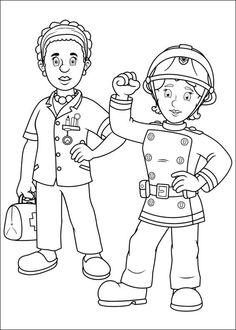 Brandweerman Sam Kleurplaten voor kinderen. Kleurplaat en afdrukken tekenen nº 45