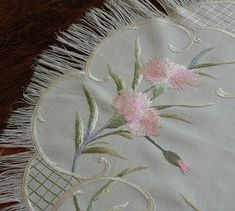 Em's Heart Antique Linens -Antique Society Silk Embroidery Centerpiece
