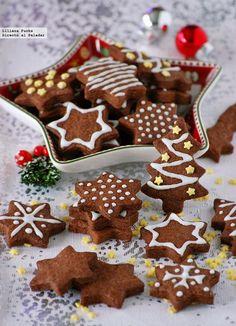 Receta de galletas de chocolate y mazapán para Navidad. Con fotos paso a paso, consejos y sugerencias de degustación. Recetas de Navidad. Dulces ...