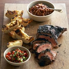 Santa Maria BBQ: Beef Tri-Tip grilled over California Red Oak, served with beans and salsa