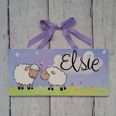 Did you know I can change up a sign to meet your specific needs?! This client loved the little lambs name sign, but wanted the lambs to match her baby's bedding! Don't be afraid to ask for specific adjustments when ordering your sign!