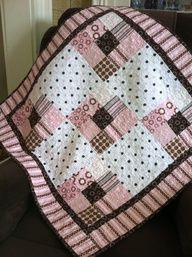 Baby girl quilt in pink and brown cotton flannel. Make into rag quilt Quilt Baby, Baby Girl Quilts, Girls Quilts, Children's Quilts, Patchwork Quilt, Rag Quilt, Patch Quilt, Quilt Blocks, Quilting Tips