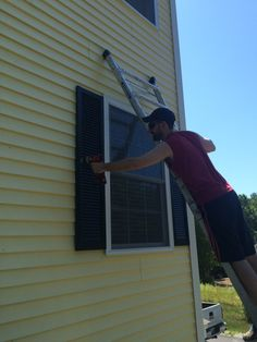 """""""I have come that they may have life and have it to the full"""" Paint Vinyl Shutters, Painting Shutters, Diy Shutters, Vinyl Siding, Diy Painting, Farmhouse Window Treatments, Board And Batten Shutters, Exterior Colors, Paint Colors"""