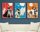 Vintage Pop Art Star Wars 3 Posters for 30 Dollars - Different sizes - Get one free. Fan Art Illustration boy's room