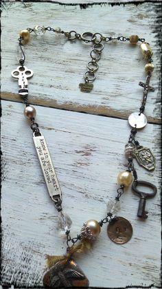 "Notice the gorgeous vintage crucifix incorporated into the chain, as well as the key, and other special elements.  The necklace was completed with an adjustable closure for wearing different lengths and one of my signature ""Mimi-Toria's Designs"" custom created signature crown tags."