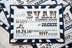 Blue and Black Baby Shower Invitation