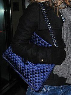 Chanel Blue Satin Handbag