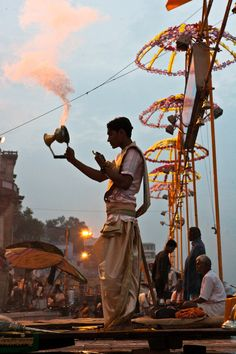 Varanasi, India--one of the oldest cities in the world and the most sacred city in Hinduism - famous Arathi on Varanasi ghat