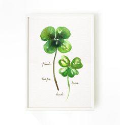 Four leaf clover art print Watercolor art Faith Hope by colorZen