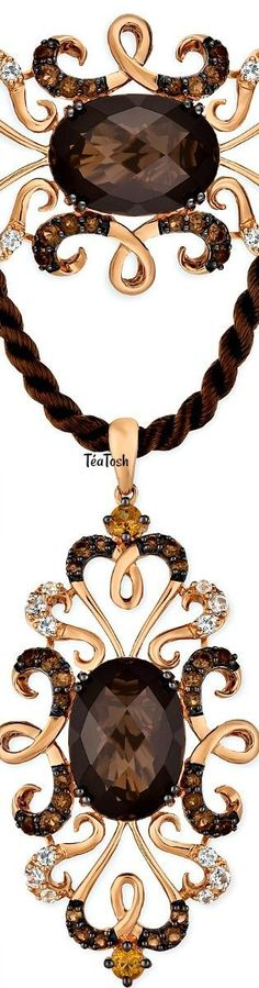❈Téa Tosh❈ Le Vian®Crazy Collection Multi-Gemstone Silk Cord Pendant Necklace (6-¼ ct. t.w.) in 14k Rose Gold