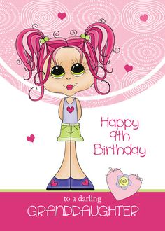 Granddaughter Birthday Cute Girl with Pink Hearts card. Personalize any greeting card for no additional cost! Cards are shipped the Next Business Day. Happy Birthday Superhero, 5th Birthday Girls, Happy 7th Birthday, Birthday Girl Quotes, Happy Birthday Greetings, Grandaughter Birthday Wishes, Facebook Birthday, Heart Cards, Pink Hearts