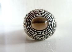 BOLD Sterling Silver 925 Light Smoky Quartz Scroll Chunky Etruscan Ring Size 7 #Handmade #Cocktail #BirthdayChristmasGiftforHer