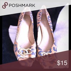 Jessica Simpson heels Leopard print kitten heels with a gold chain detail. Worn once has slight except for front area which can't be seen once you are wearing them. Bought them because they are so cute but I wear a 9 and I just couldn't wear them again. Jessica Simpson Shoes Heels