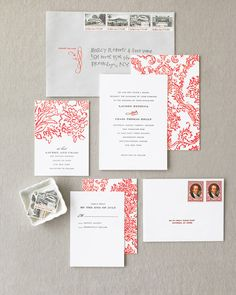 This invitation was designed by the bride, who used red flourishes to evoke Old…