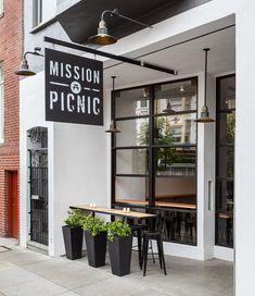 Cafe Shop Design, Coffee Shop Interior Design, Shop Front Design, Small Restaurant Design, Restaurant Interior Design, Picnic Cafe, Modern Cafe, Modern Bakery, Cafe Industrial