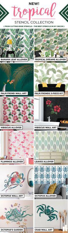 Cutting Edge Stencils is excited to introduce NEW tropical stencil patterns for walls, furniture, and DIY home decorating projects.  http://www.cuttingedgestencils.com/wall-stencils-stencil-designs.html