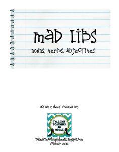Mad Libs-nouns, verbs, adjectives FREEBIE as seen on High School Herd  www.highschoolherd.com