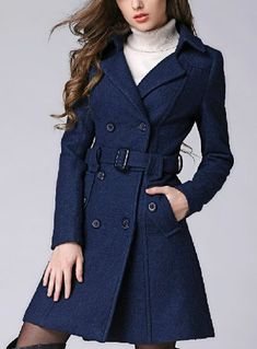 Deep blue / Pink /Apricot  wool women coat women dress coat spring Autumn Winter on Etsy, $62.00