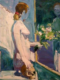 Paul Wonner, Figure with Flowers, 1961