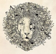 lion mural kerby rosanes Doodle Coloring pages colouring adult detailed advanced printable Kleuren voor volwassenen coloriage pour adulte anti-stress kleurplaat voor volwassenen Line Art Black and White