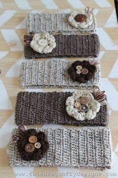 Crochet Headbands with removable crochet flowers ~ love these! by Kharis