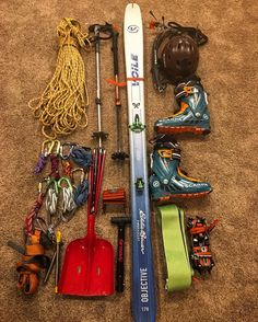 Tools ✔️ Because sorting and preparing gear is a fun part of the travel process. Thanks to @skimo_co for the quick binding mount and skins! #skimountaineeringAF #glaciertravel #greatalaskanskiholiday