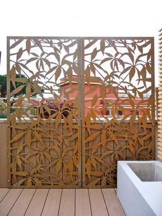 schefflera-terrazzo-outdoor screen in corten steel