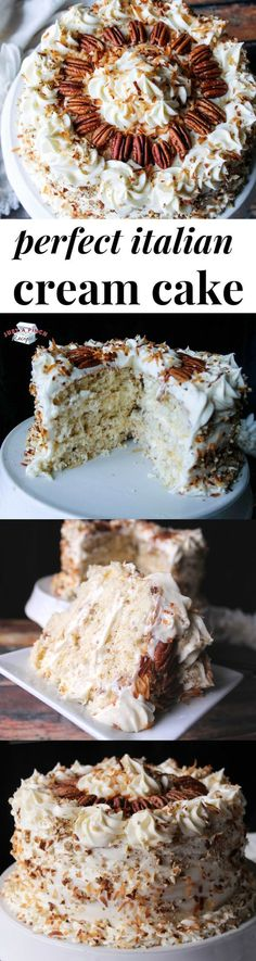 Perfect Italian Cream Cake is a delicious holiday dessert recipe that is sure to., Holiday Tips, Perfect Italian Cream Cake is a delicious holiday dessert recipe that is sure to impress! Source by showme. Holiday Desserts, Just Desserts, Delicious Desserts, Yummy Food, Sweet Recipes, Cake Recipes, Dessert Recipes, Easter Recipes, Fish Recipes