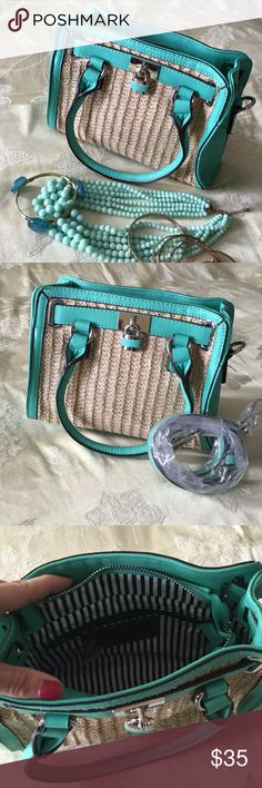 Super Cute Teal Charming Charlie Purse Super Cute Teal Charming Charlie Purse. Comes with Brand New cross-body Strap. Has a SMALL defect on the front bottom side trim. Pictured.   👠Unless otherwise stated NWT, all items are from my PERSONAL closet and GENTLY used. Please do not expect UC to look NWT. 👠  💋Please ask any questions you may have BEFORE purchase.💋  ❤️ Bundle together with other items for the cutest outfit, and best deal!! ❤️  ❗️PLEASE USE THE OFFER BUTTON TO SUBMIT OFFERS.❗️…