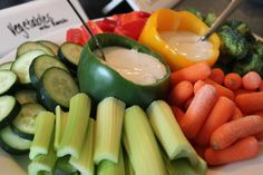 dip in pepper cups for veggie tray.  housewarming party food