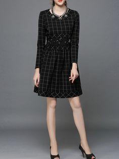 Black A-line Long Sleeve Beaded Cotton-blend Mini Dress Casual Formal Dresses, Unique Dresses, Cheap Dresses, Skirt Fashion, Fashion Dresses, Long Sleeve Mini Dress, Plus Size Dresses, Unique Fashion, Plus Size Fashion