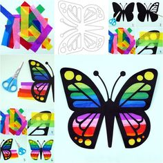 Butterfly sun catchers diy arts and craft paper butterflies, Butterfly Mobile, Butterfly Crafts, Diy Paper, Paper Art, Paper Crafts, Tissue Paper, Diy For Kids, Crafts For Kids, Art Papillon