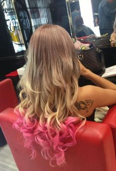 Pink Curly Tips - Hairstyles and Beauty Tips