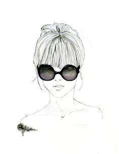 Featherhead No. 02 -- black and white original fashion illustration art print --