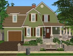 Mod The Sims - 3 Bedroom Green Country Style Home Sims 3 Worlds, Sims House Design, Sims Building, Episode Backgrounds, Cottages And Bungalows, Cute House, Sims 1, Bedroom Green, Country Style Homes