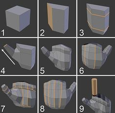 Building the Basic Hand Shape Figure shows the modeling process for a hand. You can model it wherever you want and move and scale it later according to the … - Selection from Learning Blender: A Hands-On Guide to Creating Animated Characters [Book] Blender 3d, Blender Models, Maya Modeling, Modeling Tips, Zbrush Tutorial, 3d Tutorial, Modelos Low Poly, Main 3d, 3d Modellierung