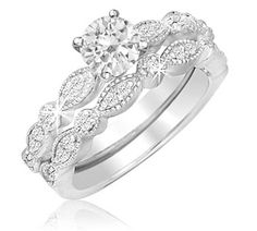 $659.99 - 1 Carat TDW Certified Diamond Bridal Set in 14K White Gold