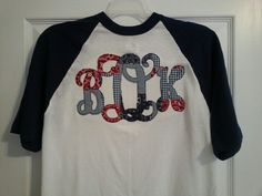 Baseball t-shirt with ragged vine applique letters.