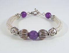 Amethyst Viking Knit bracelet #gemstone #jewellery #wirework #giftforher   https://www.etsy.com/uk/listing/271466848/viking-knit-amethyst-bracelet-viking