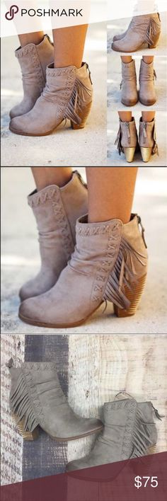 Rustic Boho Chic Fringe Stacked Ankle Booties Rustic Boho Chic Fringe Stacked Ankle Booties in Taupe. Textile upper with burnished detailing. Back zippered closure. Round toe. Fringe detailing along side. Textile lining. Lightly padded footbed. Stacked heel. Heel Height: 3 in Circumference: 10 1⁄2 in Shaft: 6 in Urban Outfitters Shoes Ankle Boots & Booties