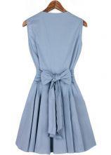 Blue V Neck Sleeveless Pleated Wrap Front Dress - Sheinside.com