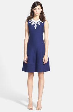 kate spade new york 'dehlila' embellished cotton blend a-line dress