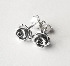 silver rose earrings, silver rose stud earrings, flower stud earrings, dainty earrings, oxidized ear