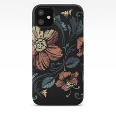 Floral on Black iPhone Case by texnotropio Iphone 11, Iphone Cases, Floral, Flowers, Iphone Case, Flower, I Phone Cases