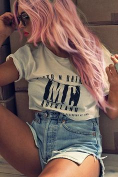 Pink Hair With High Wasted Shorts <3