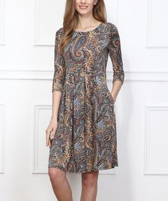 Look at this Yellow & Blue Paisley Fit & Flare Dress on #zulily today!
