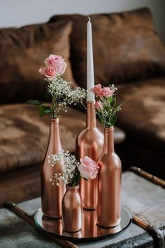 Copperlove Wedding decor Centerpiece Painted bottles You are in the right place about Wedding Table Wedding Table Centerpieces, Centerpiece Decorations, Diy Wedding Decorations, Flower Centerpieces, Rose Gold Centerpiece, Wine Bottle Centerpieces, Easy Decorations, Handmade Decorations, Flower Arrangements